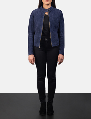 Women's Kelsee Navy Blue Suede Biker Jacket