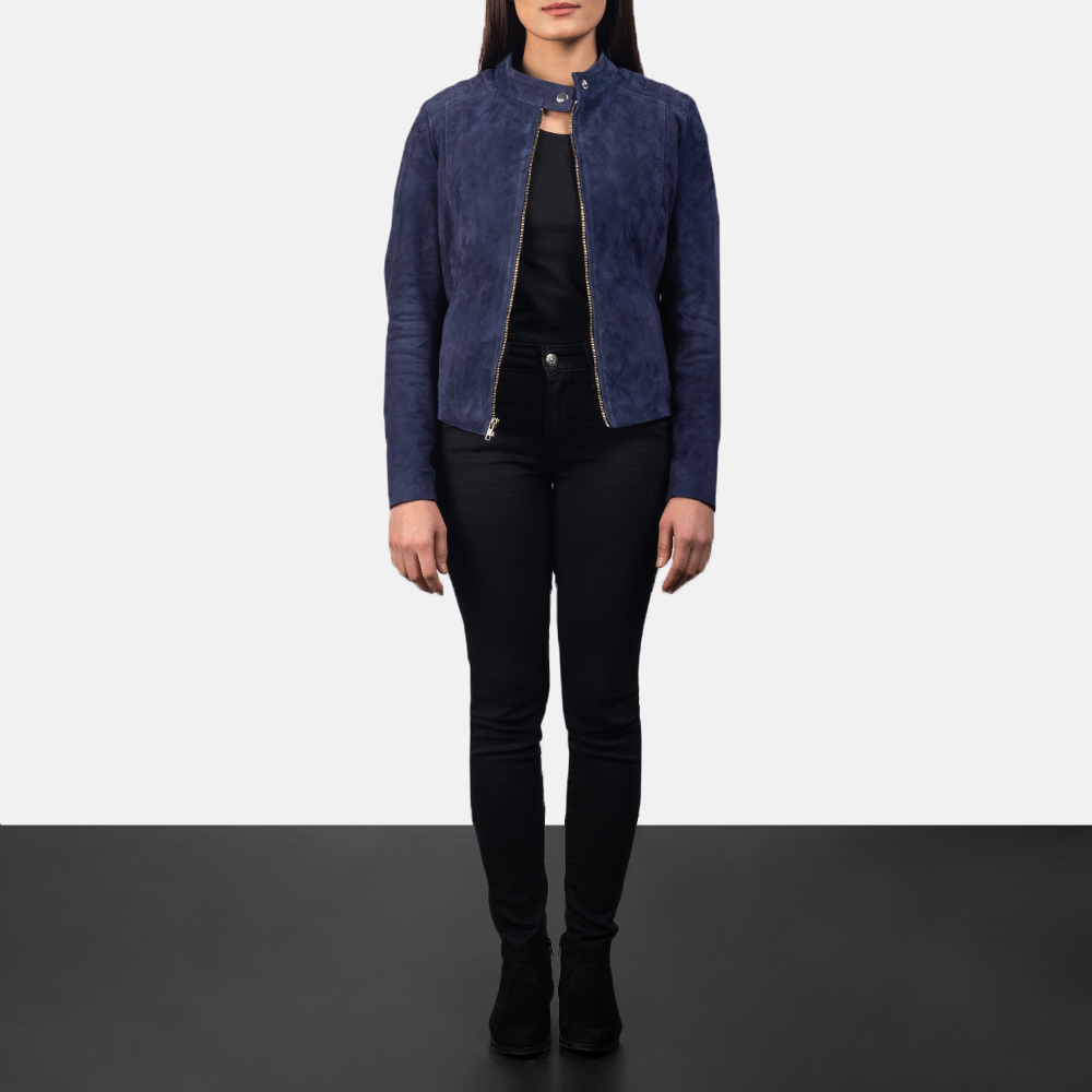 Women's Kelsee Navy Blue Suede Biker Jacket 1