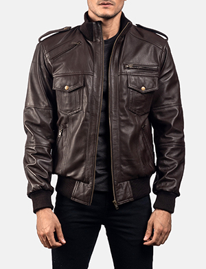 Koke Brown Leather Bomber Jacket