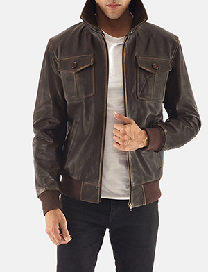 10fe79fba Mens Aaron Brown Leather Bomber Jacket
