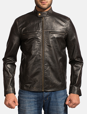Mens Liberty Black Leather Biker Jacket