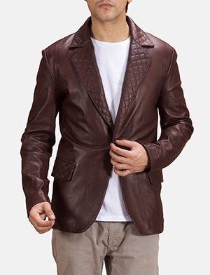 Radaron Quilted Maroon Leather Blazer
