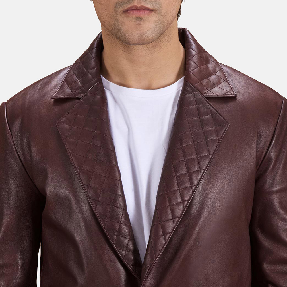 Mens Radaron Quilted Maroon Leather Blazer 5