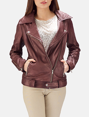 Rumy Maroon Leather Biker Jacket
