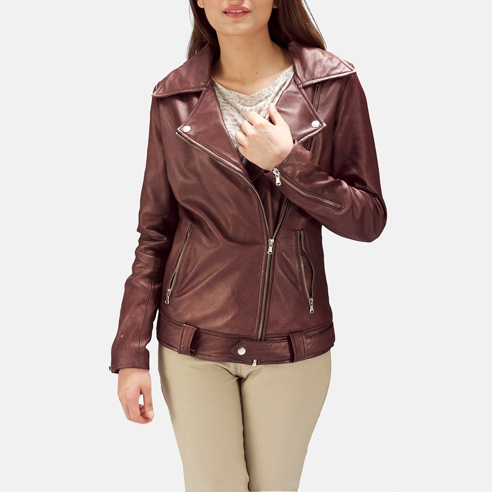 Womens Rumy Maroon Leather Biker Jacket 4