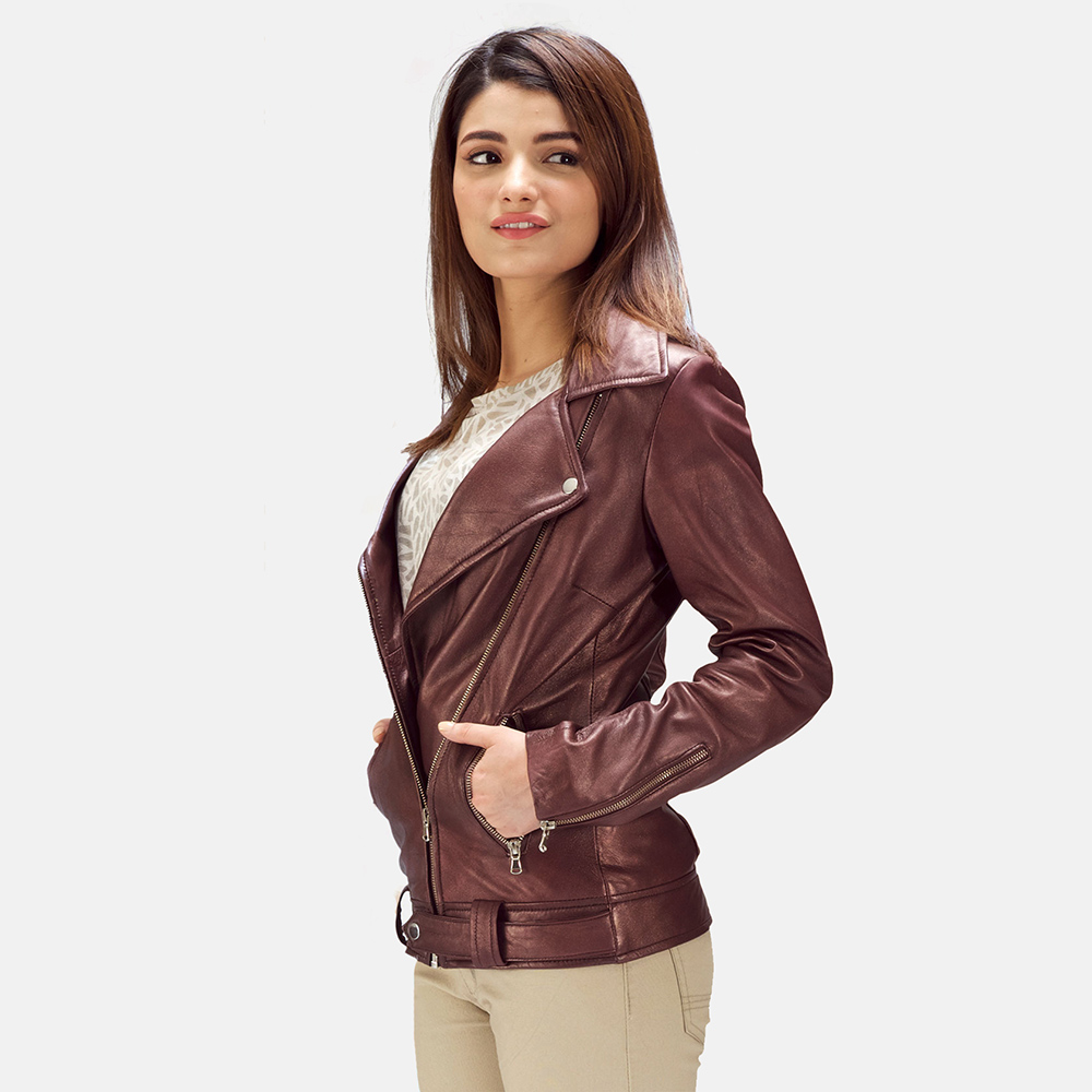 Womens Rumy Maroon Leather Biker Jacket 6