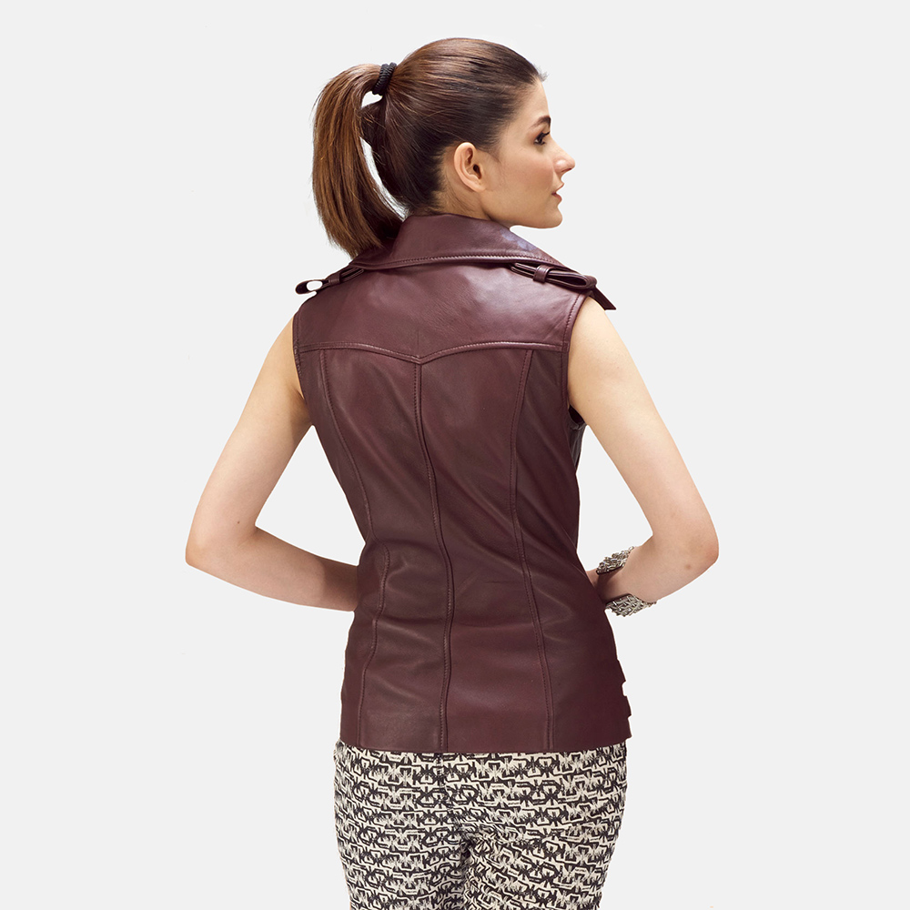 Womens Rhonda Maroon Leather Biker Vest 4
