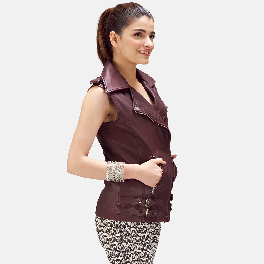 Womens Rhonda Maroon Leather Biker Vest 3
