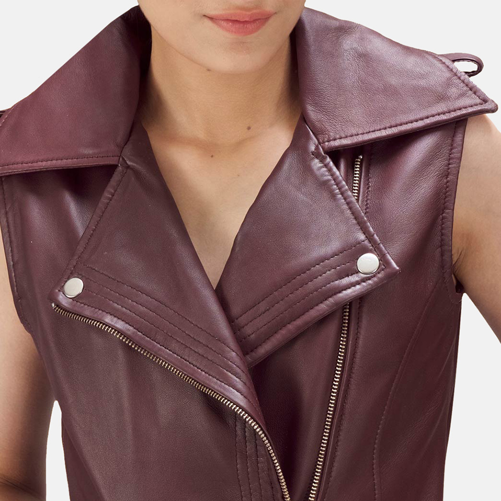 Womens Rhonda Maroon Leather Biker Vest 5