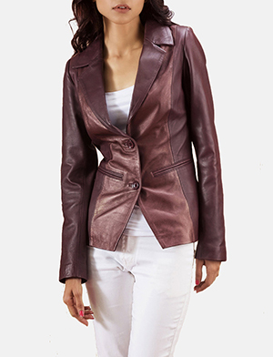 Ruby Metallic Maroon Leather Blazer