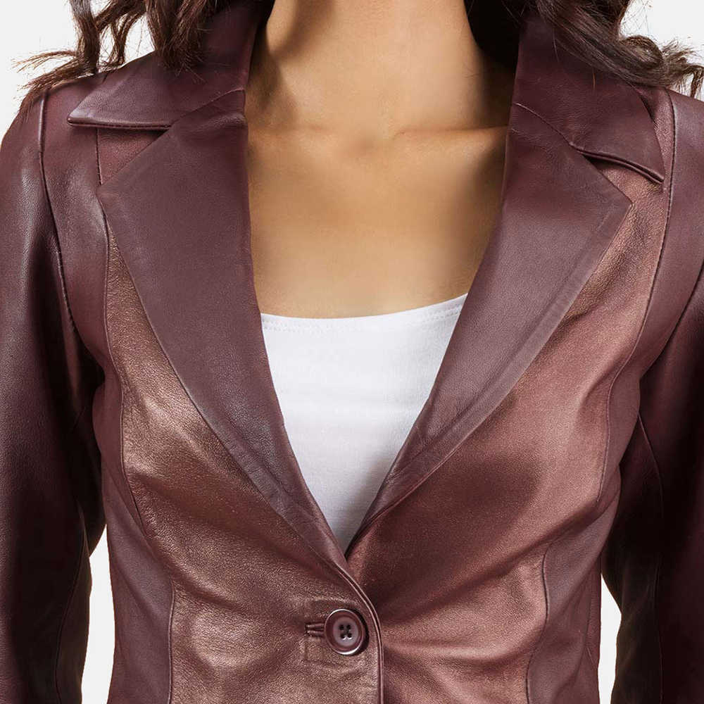Womens Ruby Metallic Maroon Leather Blazer 4