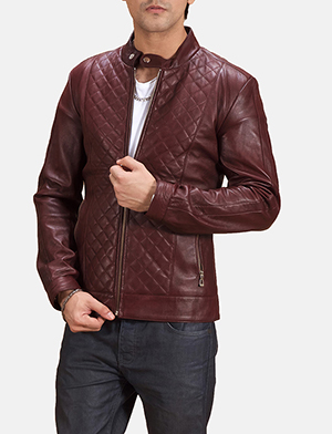 Mens Burgunn Dee Quilted Maroon Leather Biker Jacket