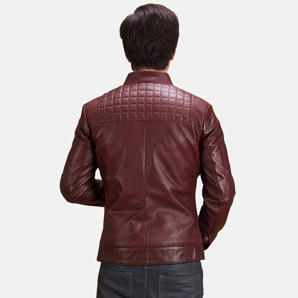 Mens Burgunn Dee Quilted Maroon Leather Biker Jacket 4