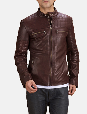 cfdb5e65d43 Mens Urbane Quilted Maroon Leather Biker Jacket