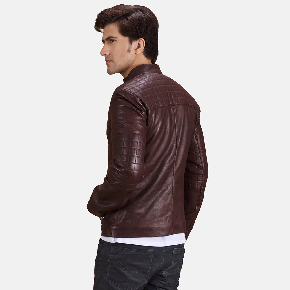Mens Urbane Quilted Maroon Leather Biker Jacket 3