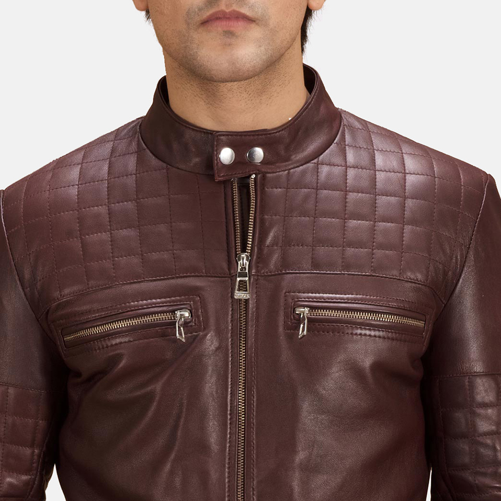 Mens Urbane Quilted Maroon Leather Biker Jacket 6