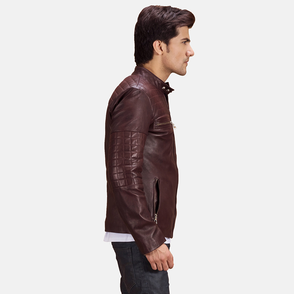 Mens Urbane Quilted Maroon Leather Biker Jacket 5