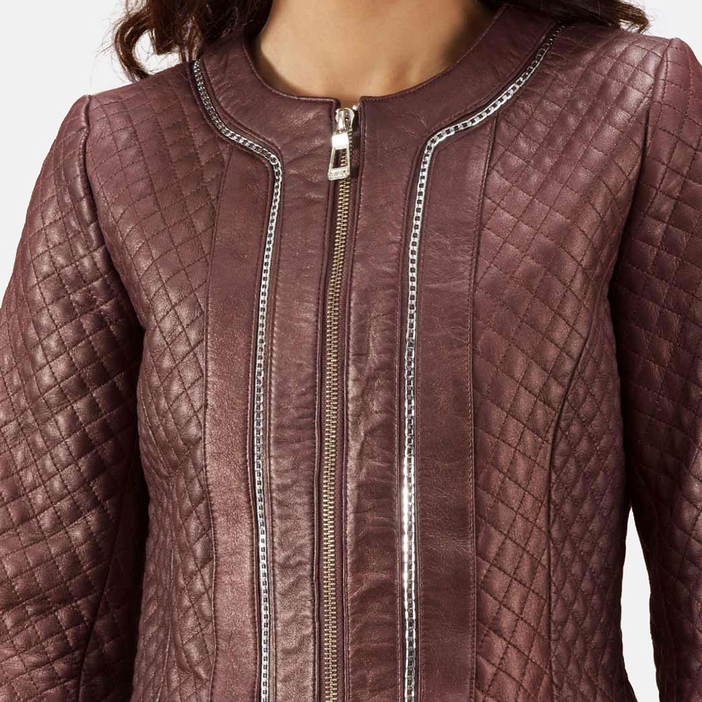 Womens Trudy Lane Quilted Maroon Leather Coat 4