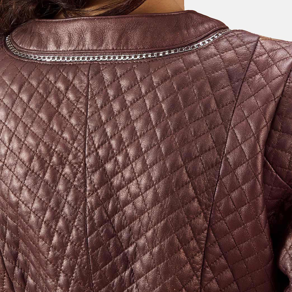 Womens Trudy Lane Quilted Maroon Leather Coat 2