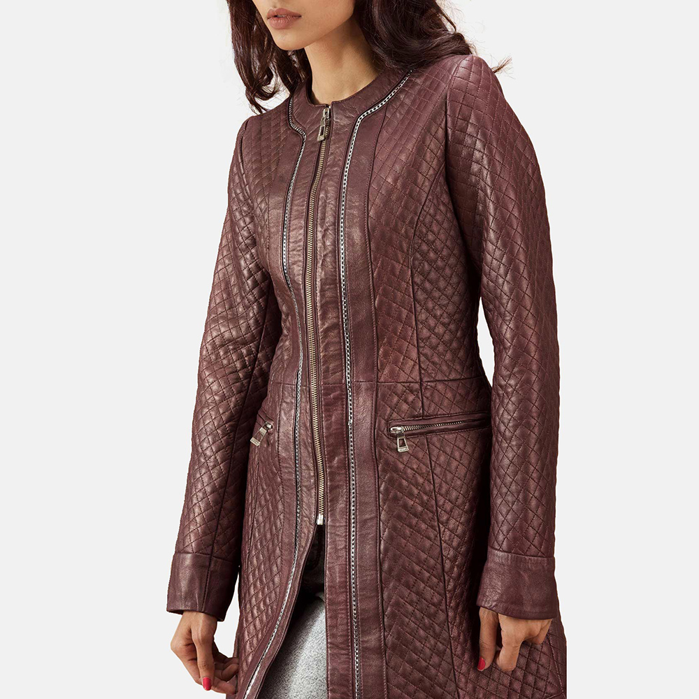 Womens Trudy Lane Quilted Maroon Leather Coat 7