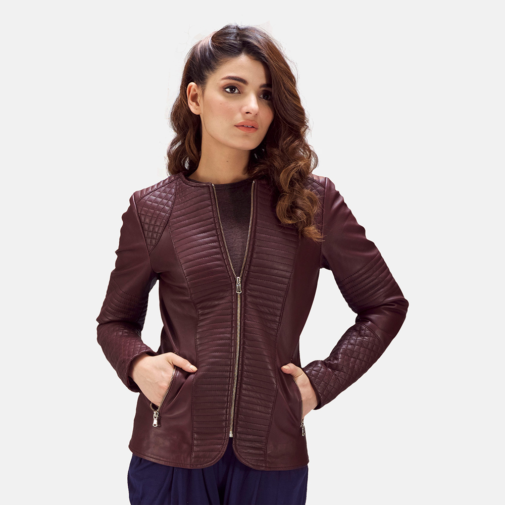 Womens Nexi Quilted Maroon Leather Jacket 4