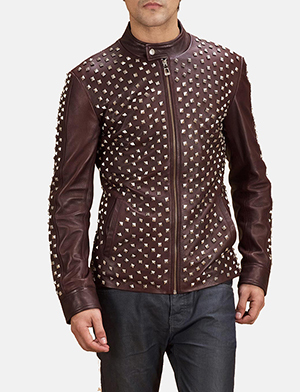 Mens Blix Bono Studded Maroon Leather Biker Jacket