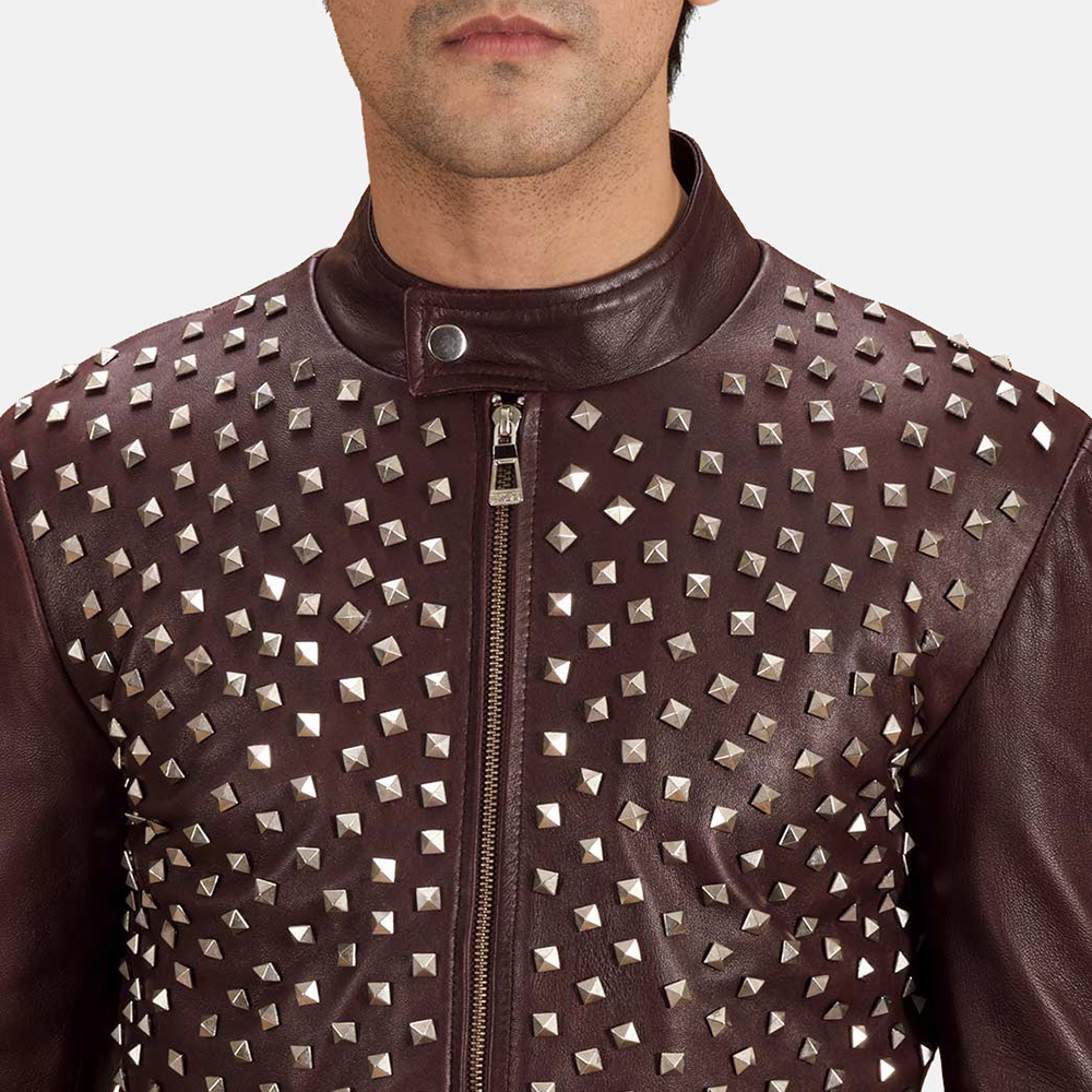 Mens Blix Bono Studded Maroon Leather Biker Jacket 6