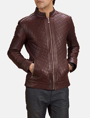 Mens Rumano Jae Studded Maroon Leather Biker Jacket
