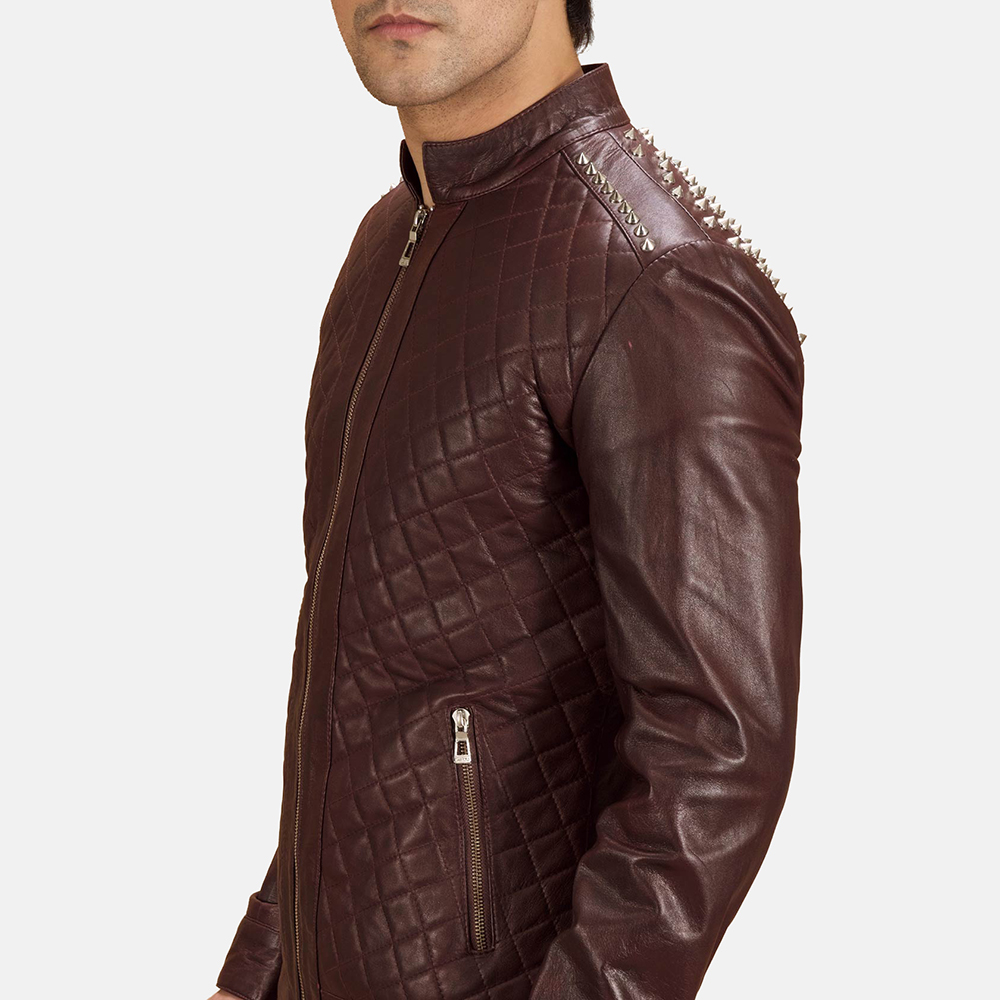 Mens Rumano Jae Studded Maroon Leather Biker Jacket 6