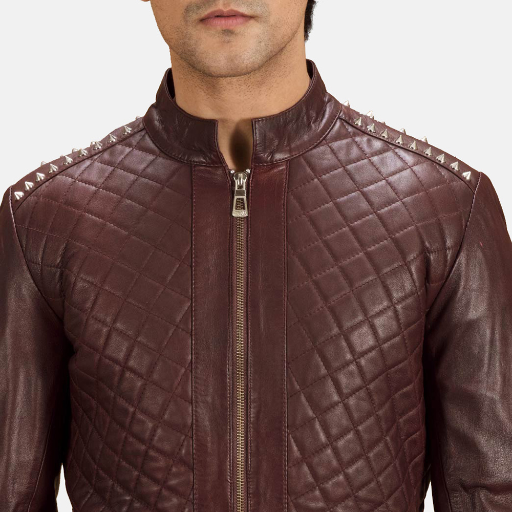Mens Rumano Jae Studded Maroon Leather Biker Jacket 5