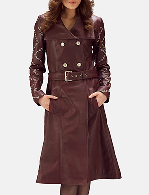 Womens Missoni Maroon Leather Trench Coat