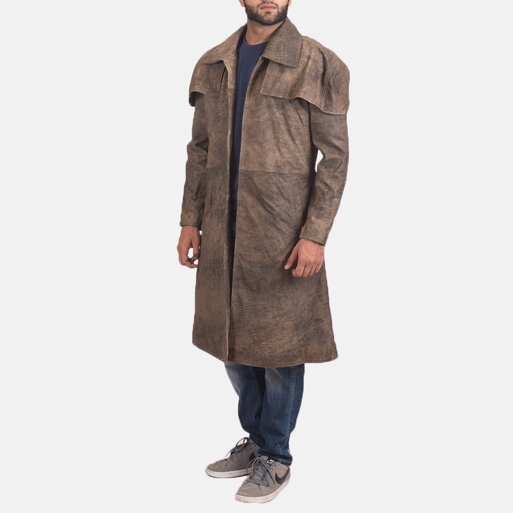 Mens Classic Brown Leather Duster 2