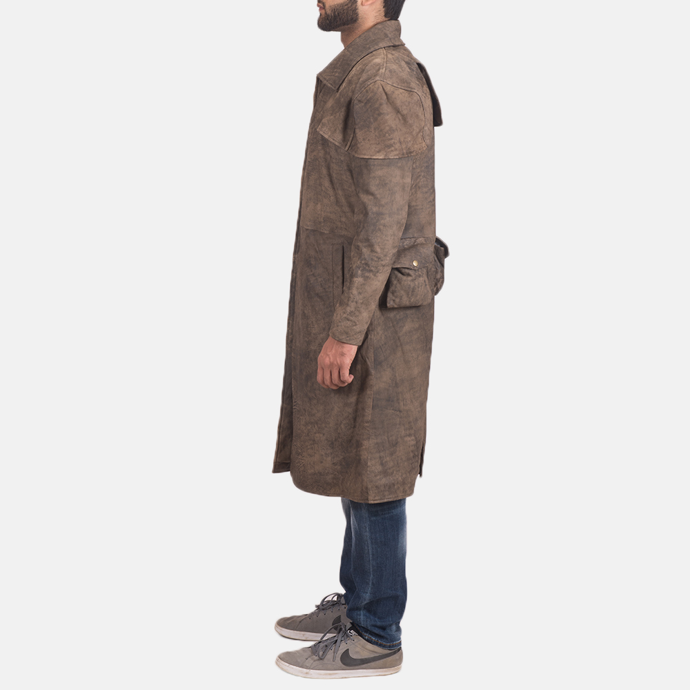Mens Classic Brown Leather Duster 3
