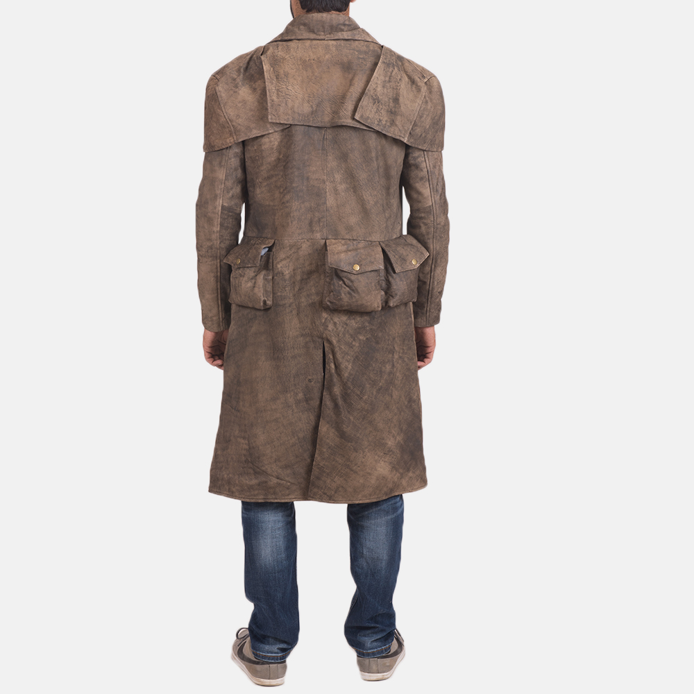 Mens Classic Brown Leather Duster 4