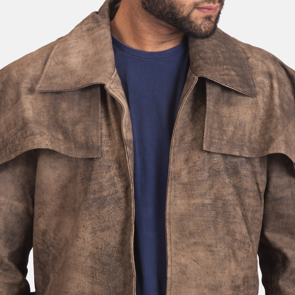 Mens Classic Brown Leather Duster 5