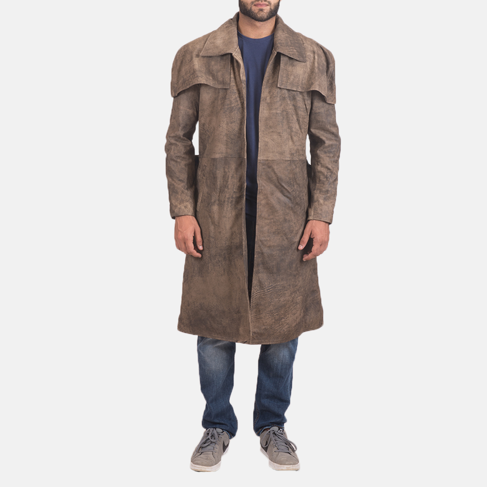 Mens Classic Brown Leather Duster 1