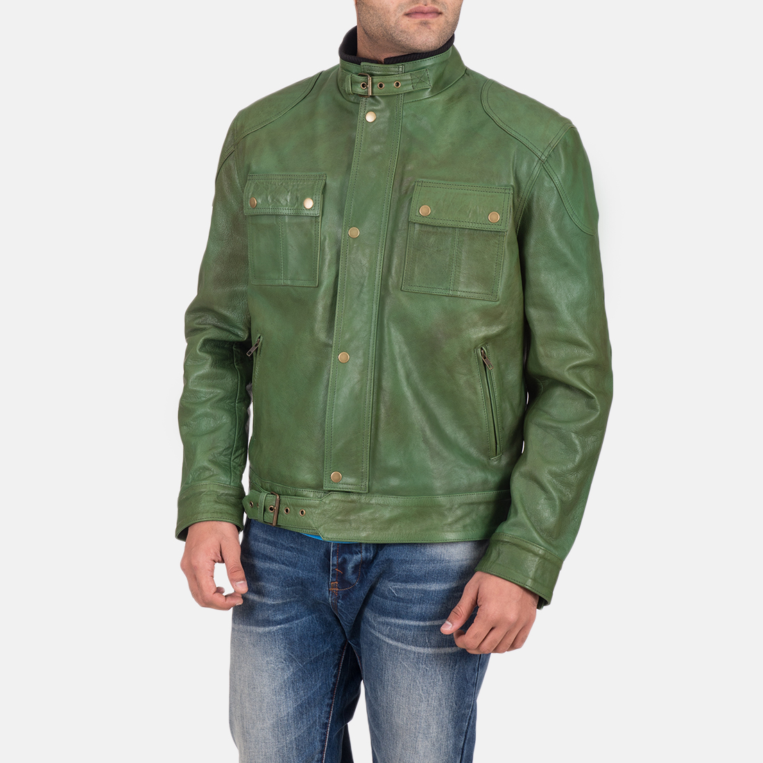 Men's Krypton Distressed Green Leather Jacket 1