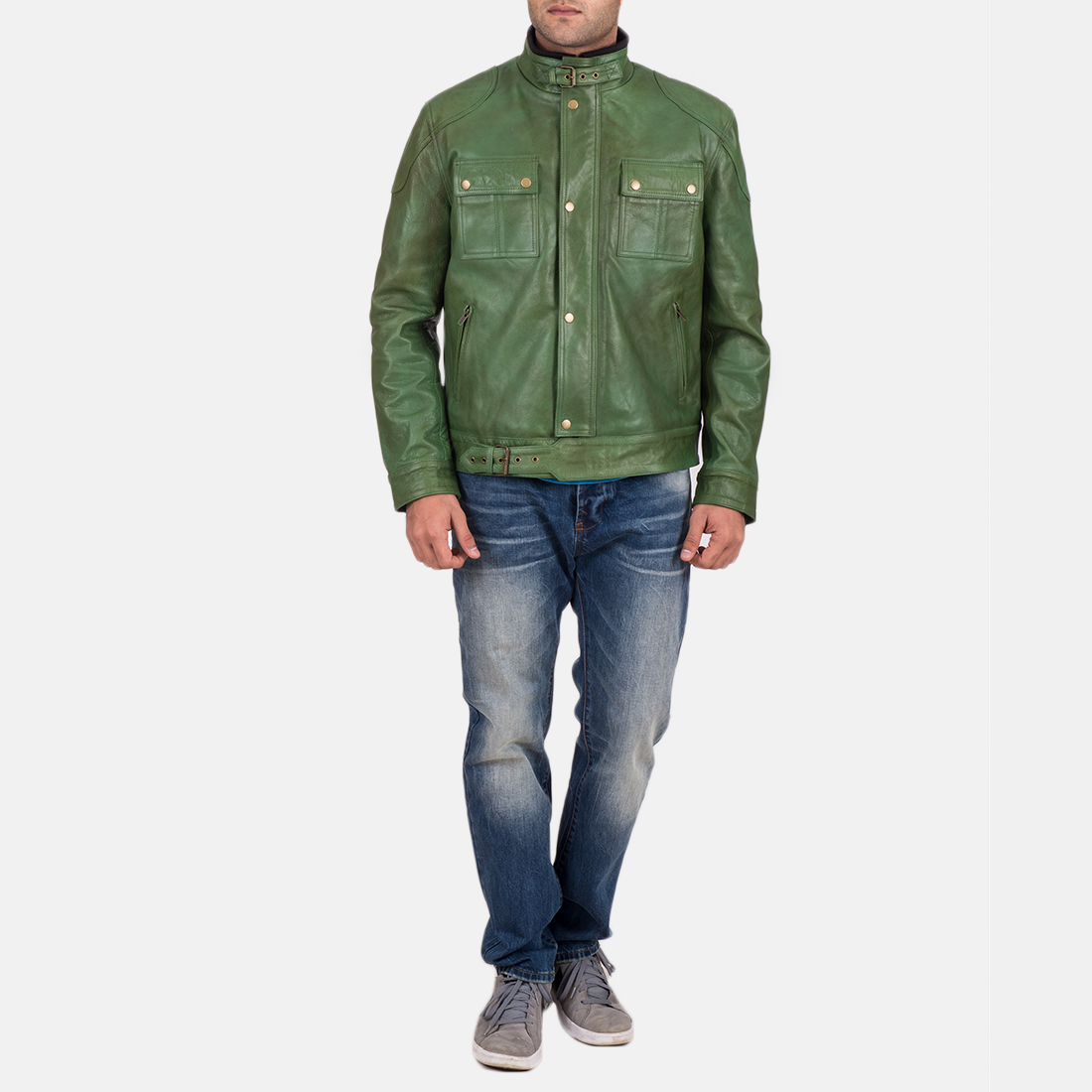 Men's Krypton Distressed Green Leather Jacket 2