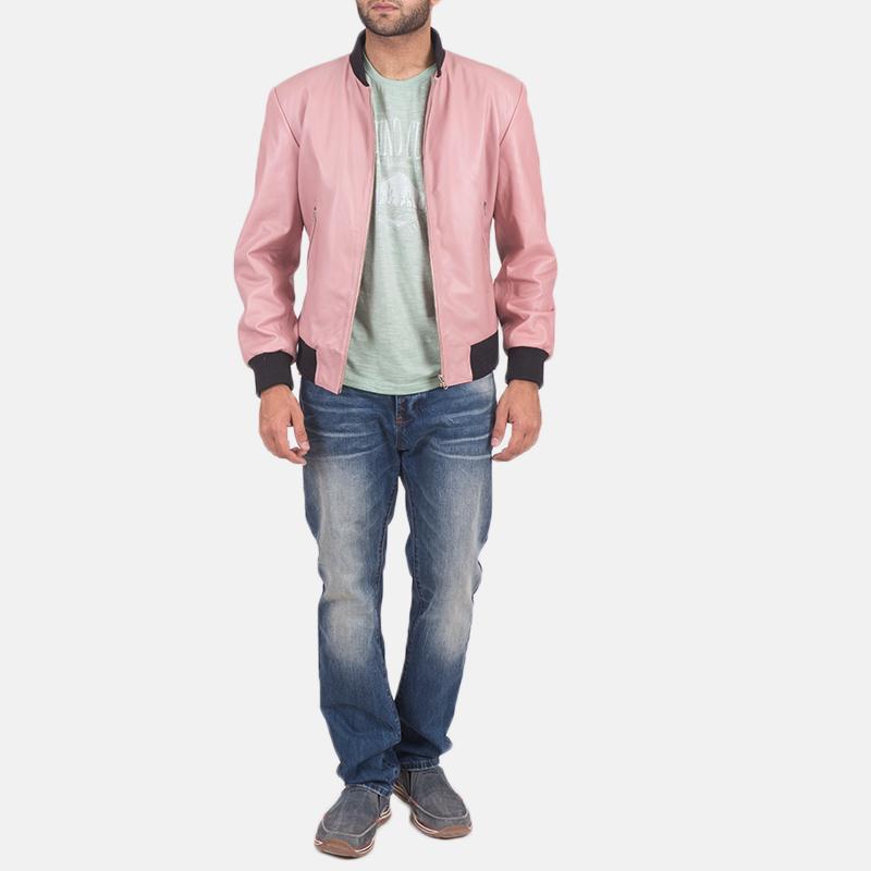 Men's Shane Pink Leather Bomber Jacket 2