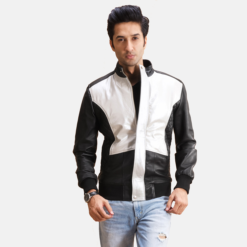 Mens Spade Silver Black Leather Bomber Jacket 1