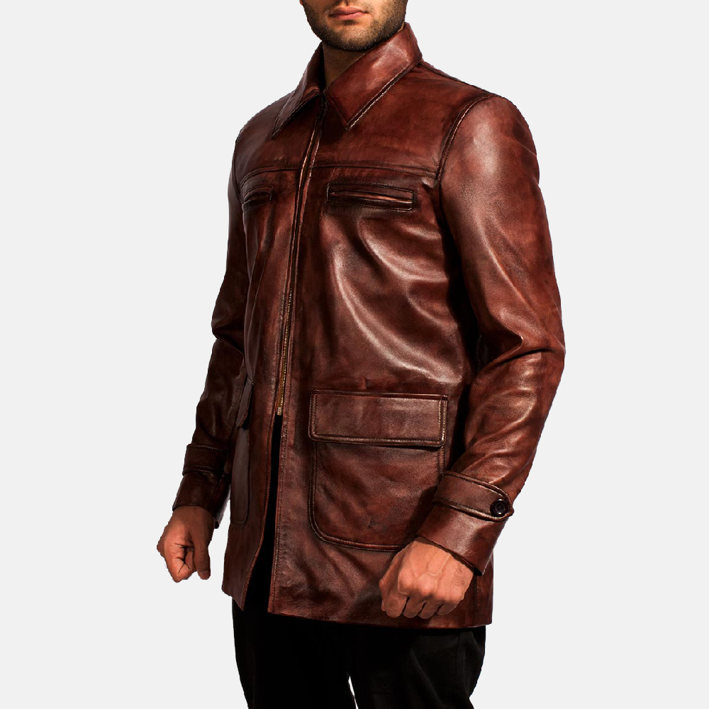 Mens Tuba Distressed Brown Leather Jacket 6