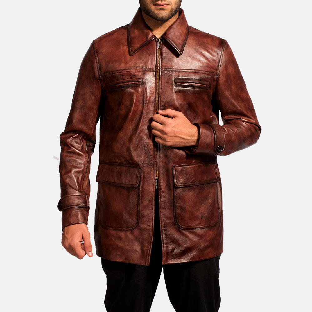 Mens Tuba Distressed Brown Leather Jacket 3