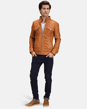 Mens Voltex Tan Leather Biker Jacket 1
