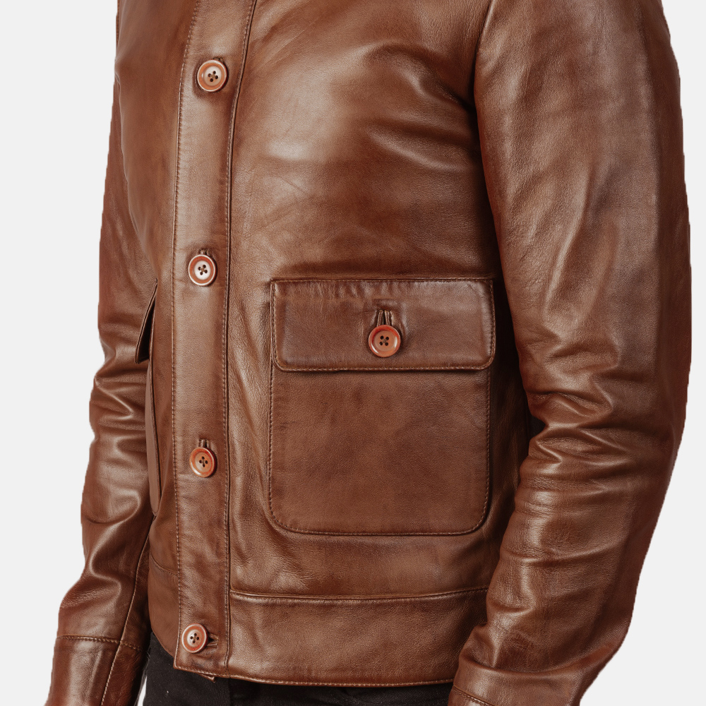 Men's Columbus Brown Leather Bomber Jacket