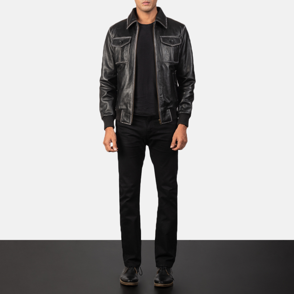 Men's Aaron Black Leather Bomber Jacket