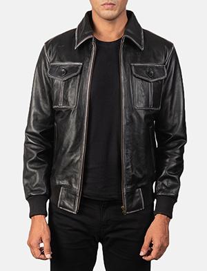 Men's Aaron Distressed Black Leather Bomber Jacket
