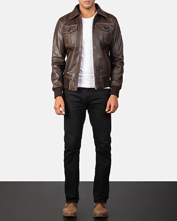 Men's Aaron Brown Leather Bomber Jacket