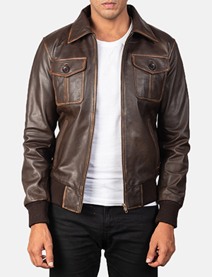 Men's Aaron Distressed Brown Leather Bomber Jacket