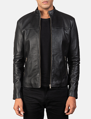 Men's Adornica Black Leather Biker Jacket