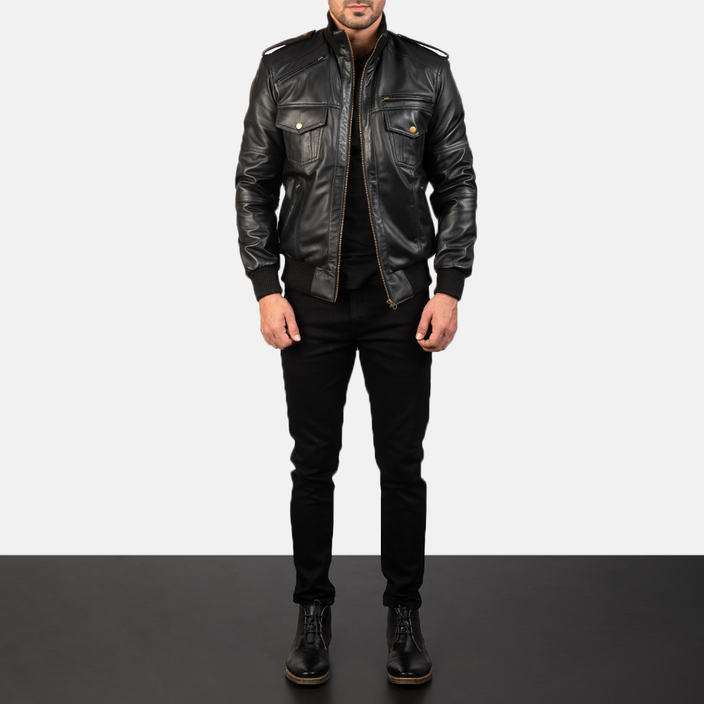Agent Shadow Black Leather Bomber Jacket